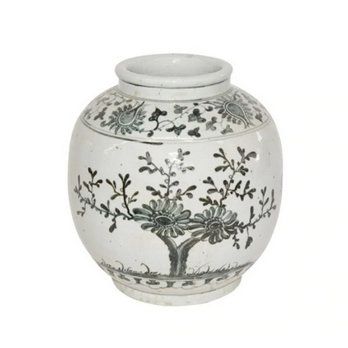 Hand-Painted Ceramic Jar with Flower and Bamboo Motif