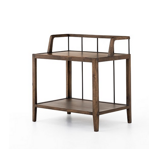 Pecan Finished Mango Nightstand with Iron Accents