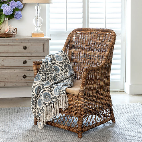 Rattan Chair with Burlap Seat Cushion