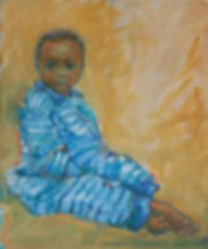 Kate Hoffman, Ojai, artist, local, oil, canvas, blue, wheat, corn, yellow, stripes, black, brown, child, Ghana, Rotary