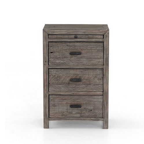 Reclaimed Wood Nightstand with Brass Hardware