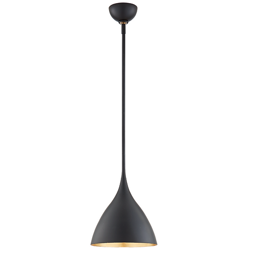Small Teardrop Shaped Pendant in Matte Black and Gilded Interior