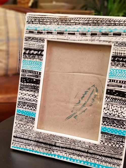 "Hand Painted Bone Picture Frame in Turquoise and Black, 5"" x 7"""