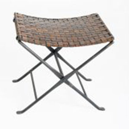 Woven Leather and Iron Folding Stool