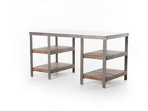 Mango & Iron Desk with White Marble Top