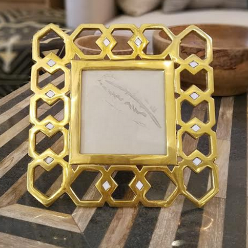 Brass and White Bone Picture Frame