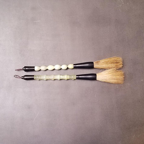 Jade & Resin  Calligraphy Brushes with Horse Hair Bristles, 9.5""