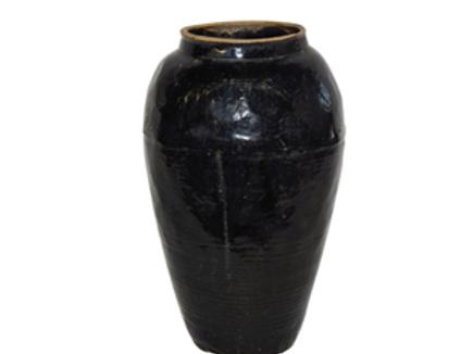 "Vintage Black Porcelain Wine Jar, 22"" tall"