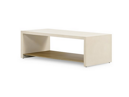 White Concrete Coffee Table with Brass Shelf