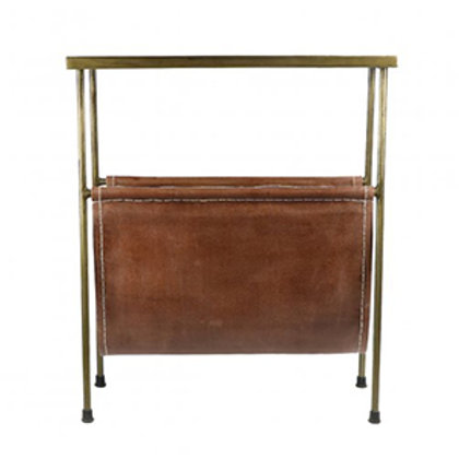 Brass Side Table with Leather Magazine Holder