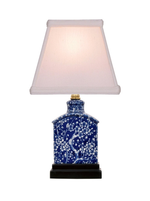 Hand Painted Blue and White Porcelain Lamp with Shade