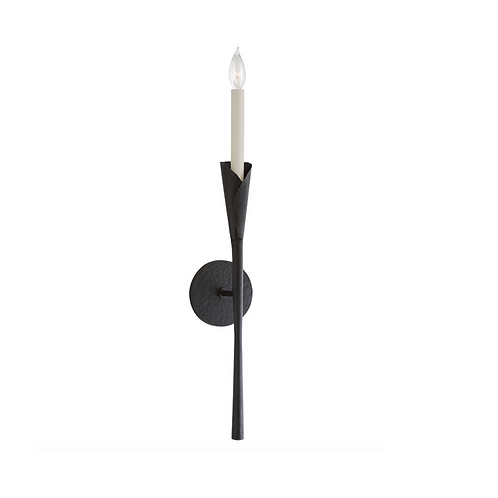Single Tail Wall Sconce with Round Backplate