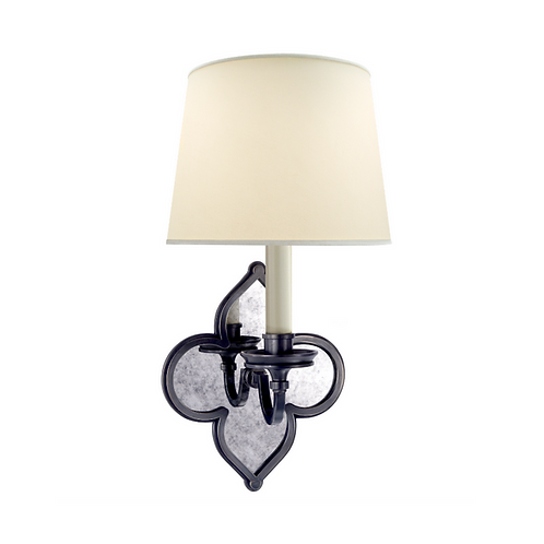 Single Wall Sconce with Antiqued Mirror Backplate