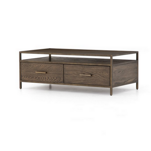 Oak Coffee Table with Antiqued Bronze Frame