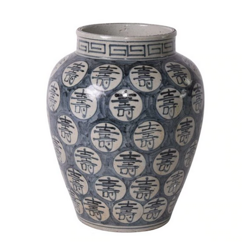 Hand Crafted Blue and White Porcelain Vase with Longevity Symbol