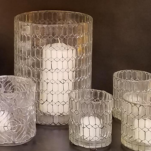 Hand Cut Clear Glass Hurricane Candle Holder, Geometric Design