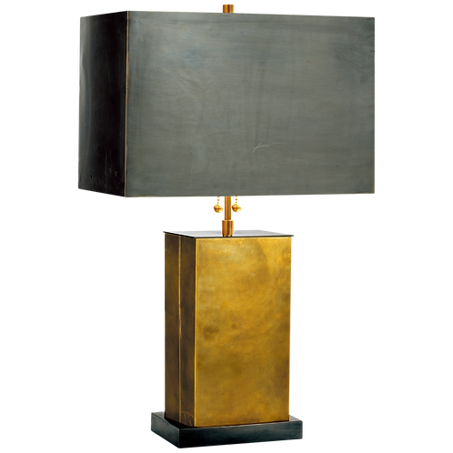 Table Lamp in Hand-Rubbed Brass with Bronze Shade