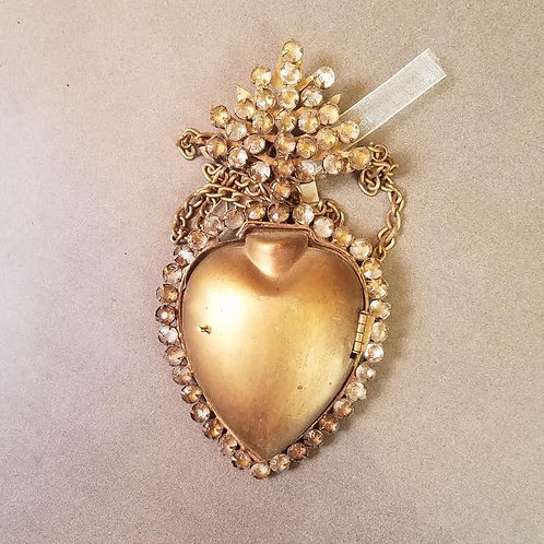 Sacred Heart Milagro Locket with Crystal Accents