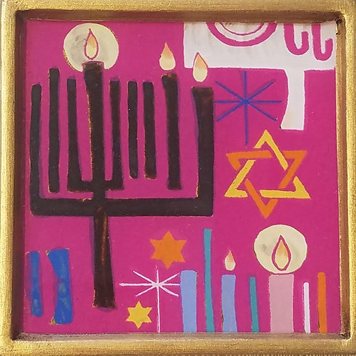 """Hannukah Menorah Painting, 4"""" x 4"""", please specify color when ordering"""