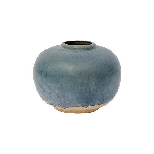 Vintage Style Blue Ceramic Round Pot