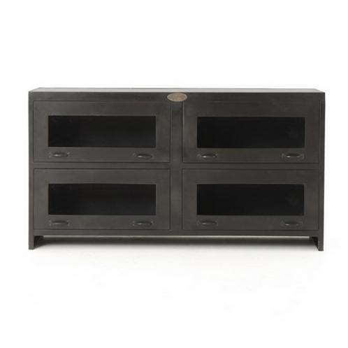 Antiqued Iron and Mango Wood Media Cabinet