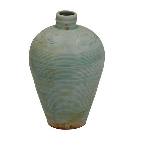 "Celadon Plum Vase, 7.5"" tall"