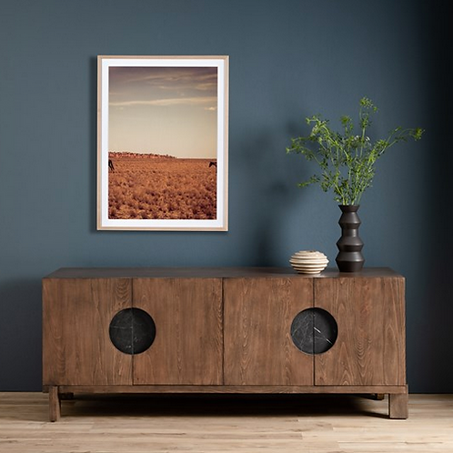 Golden Beech Wood Media Console with Black Marble Hardware