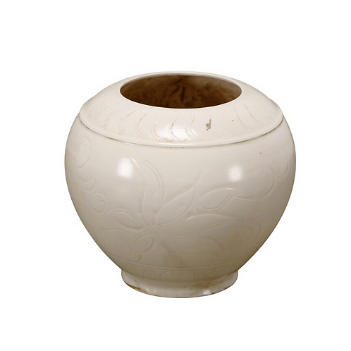 Off White Glazed Pot with Floral Design