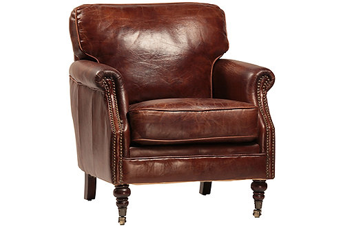 Leather Club Chair, Brown