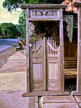 hand carved, teak, door, gate, Indonesia, Ojai interior design, Ventura County interior design, hand painted, hand made, outdoor