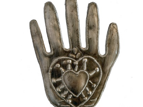Milagro Hand with Heart, Chiseled from Oil Steel Oil Drum