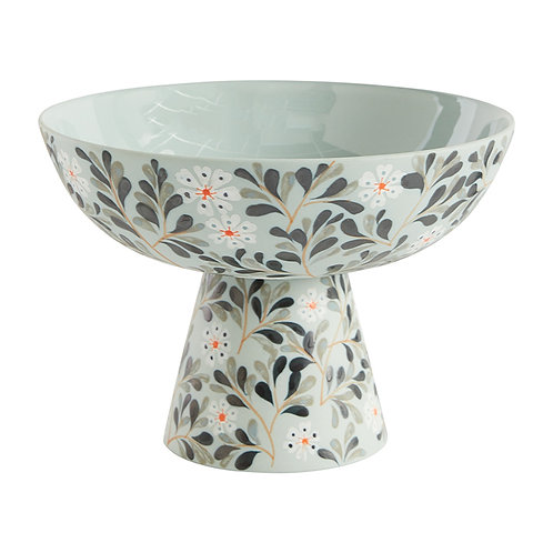 Handpainted Floral Motif Compote Bowl