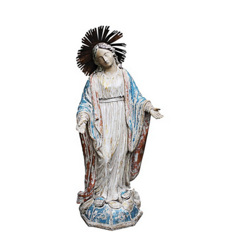 Resin Virgin Mary Statue with Halo and Red & Blue Accents