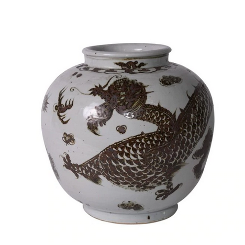 Hand-Painted Porcelain Jar with Dragon Motif