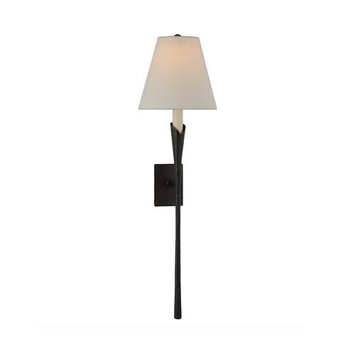 Single Tail Wall Sconce with Rectangular Backplate and Linen Shade