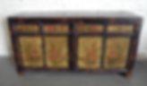 down, home, furnishings, sideboard, roses, four, door, drawer, antique Chinese, cabinet, hand, painted, Ojai, California, Ventura, County, PD_SP24-124 4 DOOR 4 DRAWER PAINTED CABI