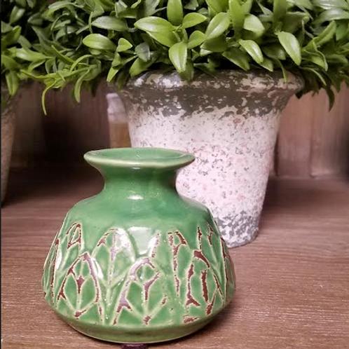 Green Ceramic Embossed Stoneware Vase