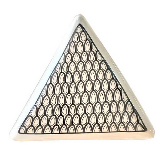Hand Made Black and White Triangle Shaped Dish, Made in Morocco