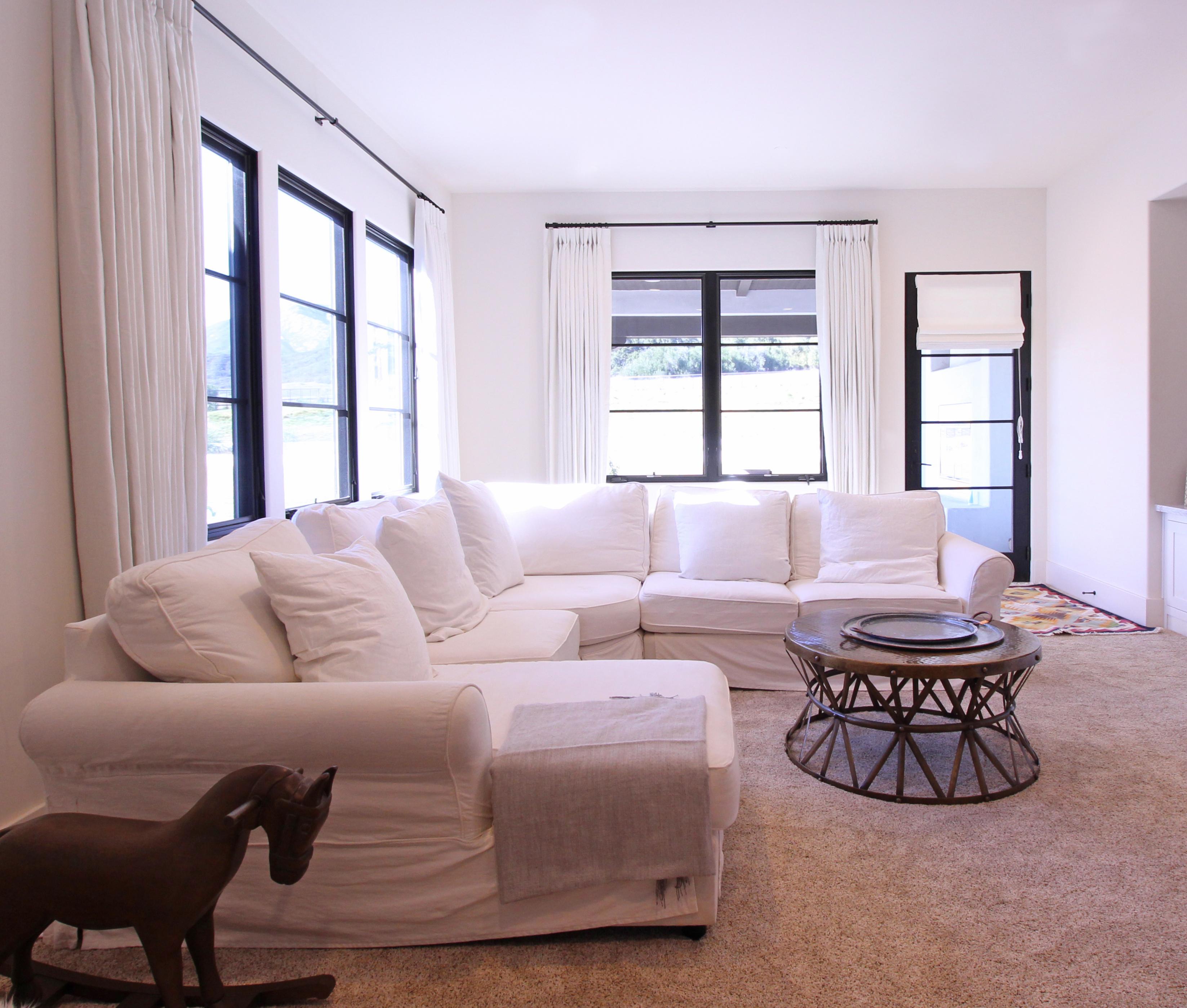 Living room custom drapery