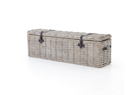 Solid Mahogany Trunk Wrapped in Woven Rattan with Leather Accents