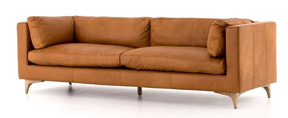 CCAR-62-039, down, leather, carame, full grain, top grain, wood, legs, low, back, square, squared, sofa, mid, century, midcentury, interior, design, home, furnishings, Ojai, California
