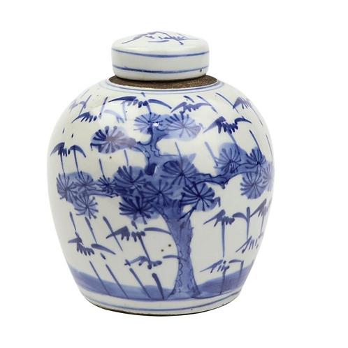 Blue and White Lidded Jar with Plum and Pine Motif