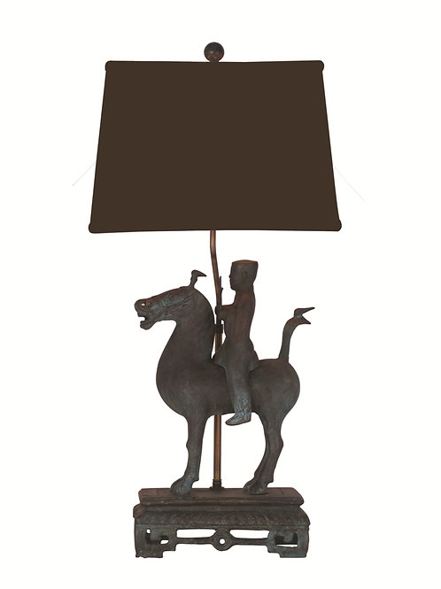 Bronze Horseman Table Lamp with Shade