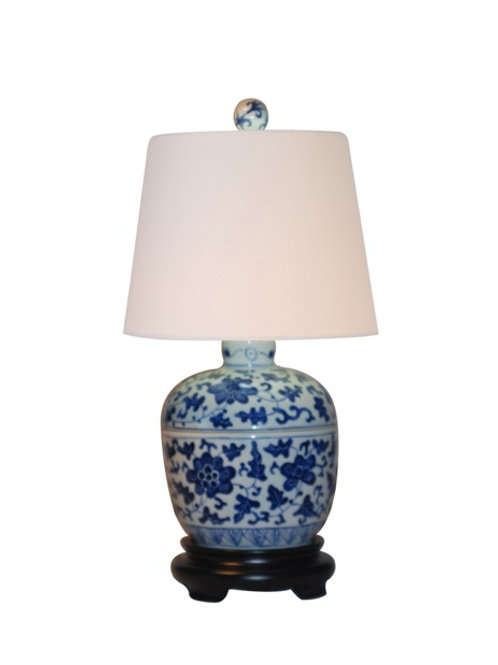 Hand Painted Blue and White Porcelain Jar Lamp with Shade