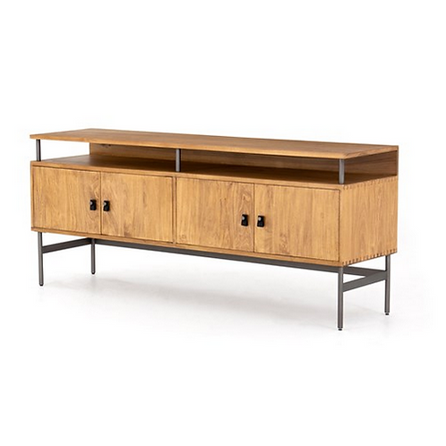 Honey Poplar and Iron Media Console with Floating Top