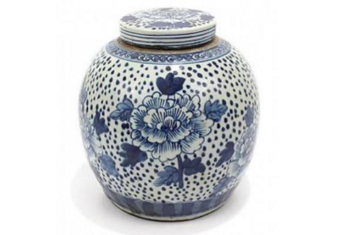 Blue and White Ceramic Jar with Peony Motif