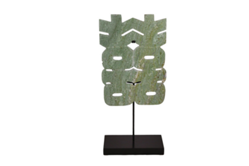 Double Happiness Green Jade Sculpture with Metal Stand