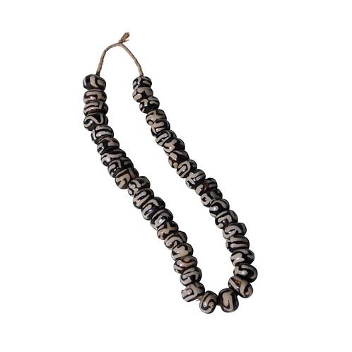 Black and White Batik Bone Beads
