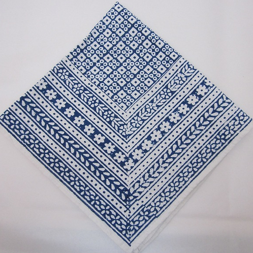 Hand Block Printed Cotton Napkins with Blue Floral Design, Set of 4