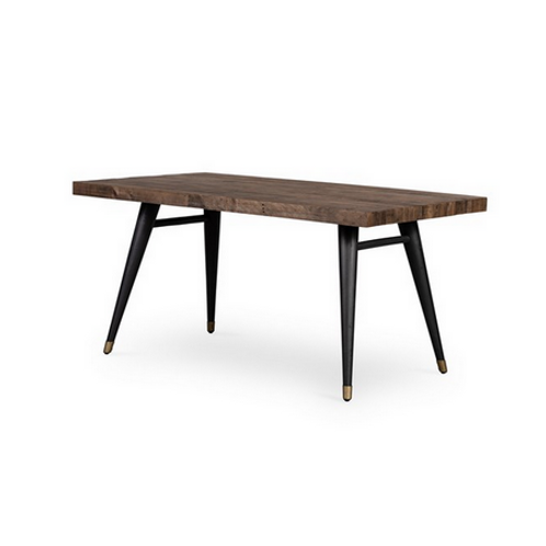 Reclaimed Wood Dining Table with Tapered Iron Legs